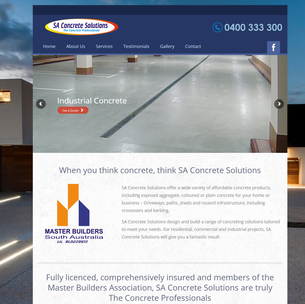 SA Concrete Solutions website screenshot